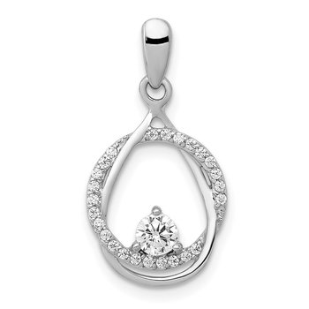 14k White Gold 1/3ct. Diamond Fancy Circle and Teardrop Pendant