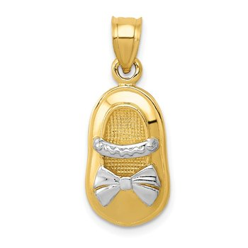 14k &w/Rhodium Polished Girl Shoe Pendant