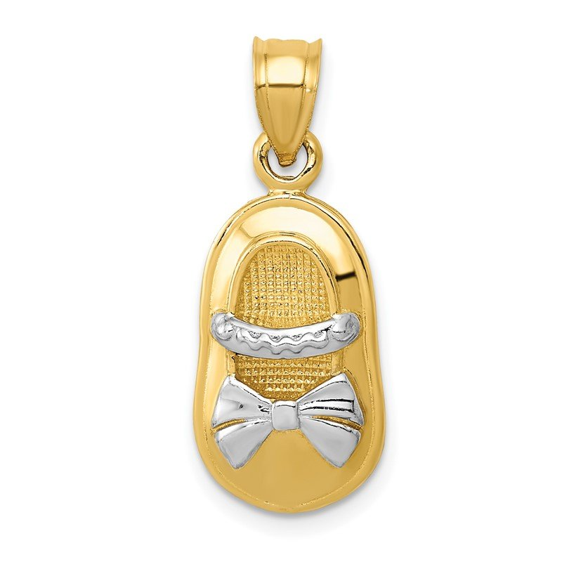 Quality Gold 14k &w/Rhodium Polished Girl Shoe Pendant