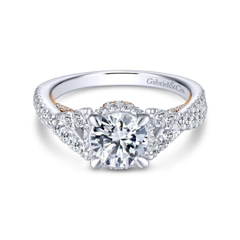 Gabriel Bridal Top Picks 14K White-Rose Gold Twisted Round Diamond Engagement Ring