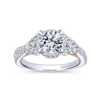 14K White-Rose Gold Twisted Round Diamond Engagement Ring