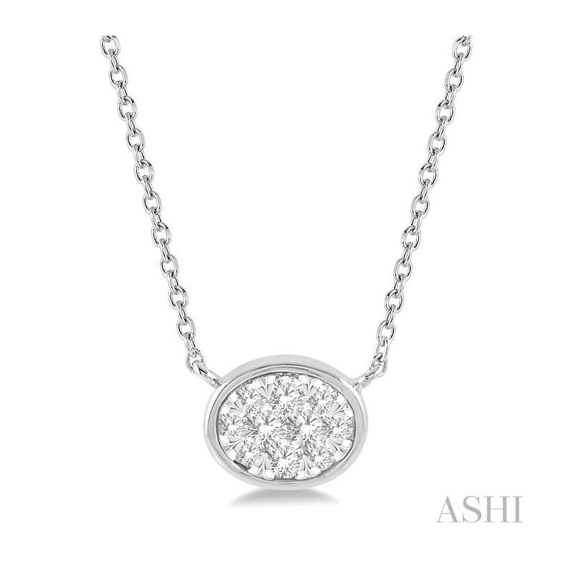 ASHI oval shape lovebright essential diamond necklace