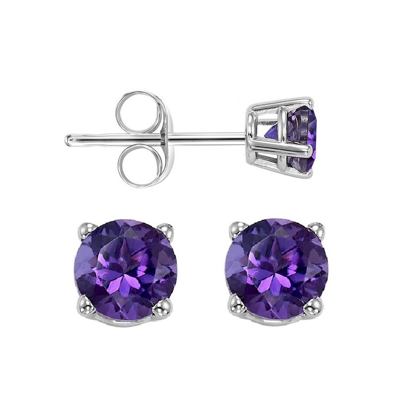 Gems One Four Prong Amethyst Studs in 14K White Gold (5 MM)