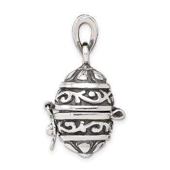 Sterling Silver Oval Prayer Box Pendant
