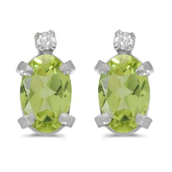 Sterling Silver Oval Peridot and Diamond Earrings