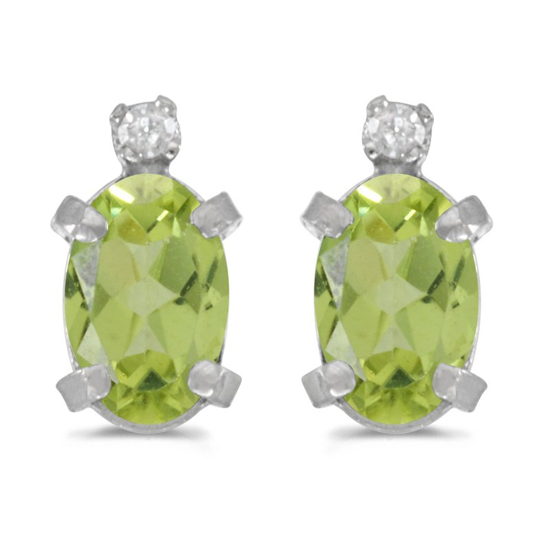 Color Merchants Sterling Silver Oval Peridot and Diamond Earrings