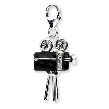 Sterling Silver Amore La Vita Rhod-pl 3-D Enameled Movie Camera Charm