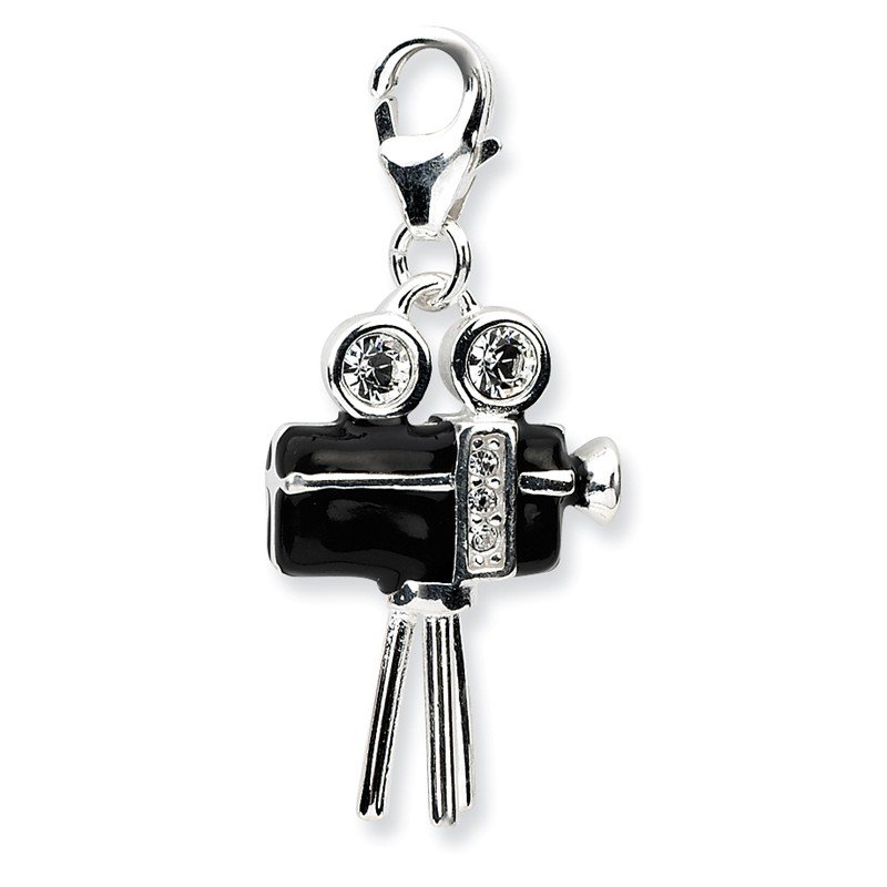 Quality Gold Sterling Silver 3-D Enameled Movie Camera w/Lobster Clasp Charm