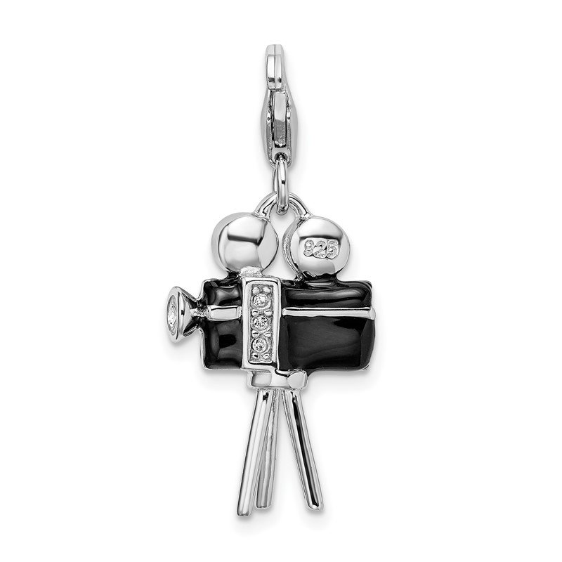 Quality Gold Sterling Silver Amore La Vita Rhod-pl 3-D Enameled Movie Camera Charm