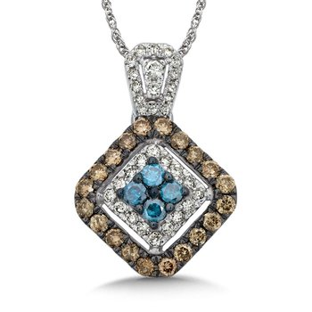 Pave set Blue, Cognac and White Diamond  Pendant, 10k White Gold  (3/4 ct. tw.)
