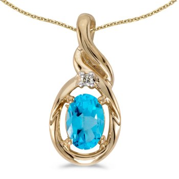 14k Yellow Gold Oval Blue Topaz And Diamond Pendant