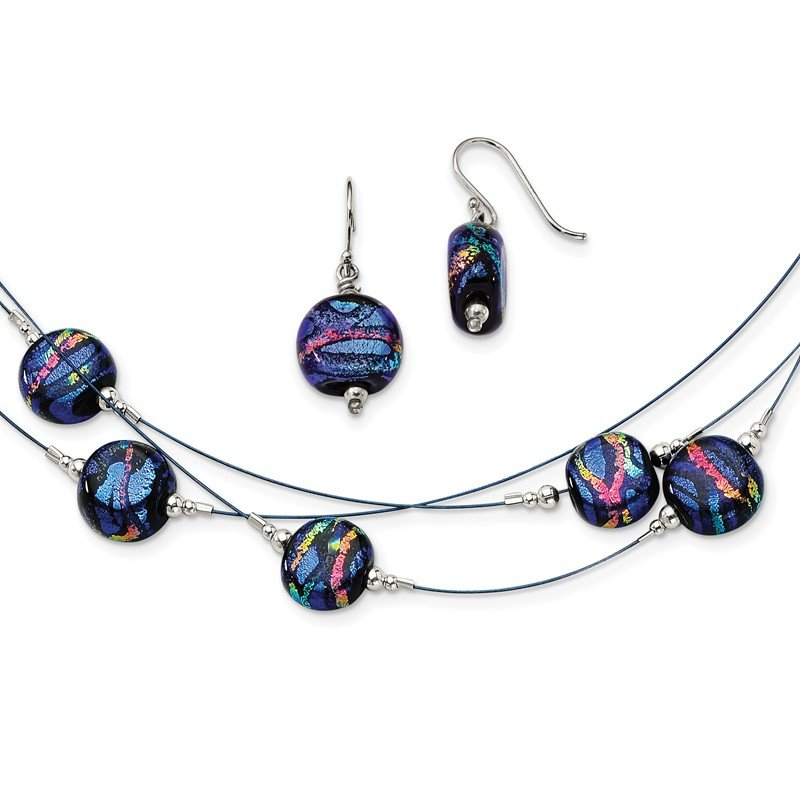 Quality Gold Sterling Silver Blue Dichroic Glass Earrings and 18in Necklace Set