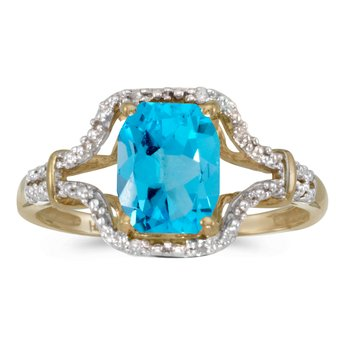 10k Yellow Gold Emerald-cut Blue Topaz And Diamond Ring