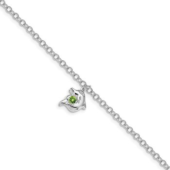 Sterling Silver Jumping Dolphin with Peridot 7.5in Bracelet