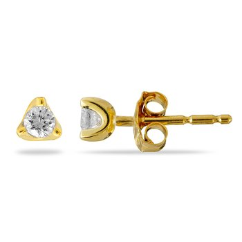 "14K YG Diamond ""Trinity"" Solitaire Earring"