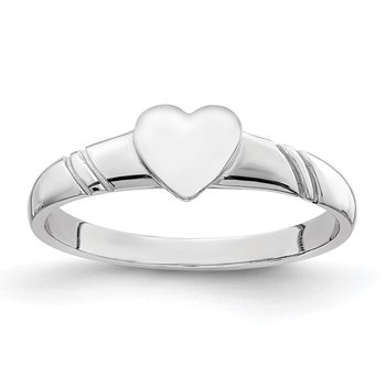 14K White Polished Heart Children's Ring