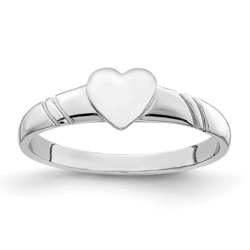 Quality Gold 14K White Polished Heart Children's Ring