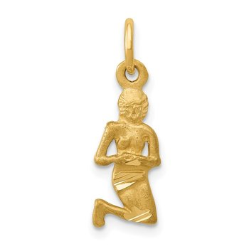 14k Satin Diamond-cut Virgo Zodiac Charm