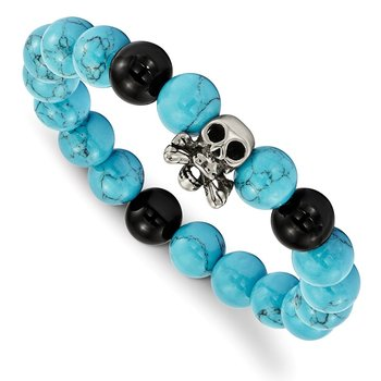 Stainless Steel Antiqued & Polished Turquoise & Black Onyx Skull Bracelet