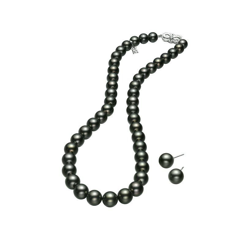 Mikimoto Black South Sea Strand Necklace and Studs