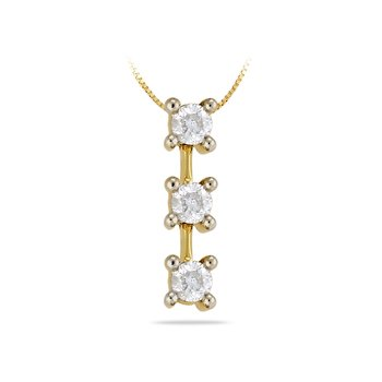 14K YG Diamond Three Stone Pendant