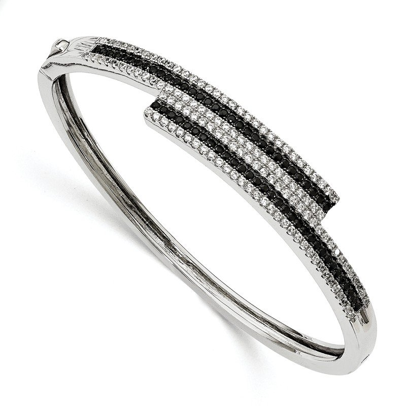 Quality Gold Sterling Silver & CZ Brilliant Embers Bangle Bracelet