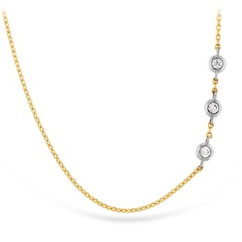0.05 ctw. HOF Signature Off-Set Triple Bezel Necklace