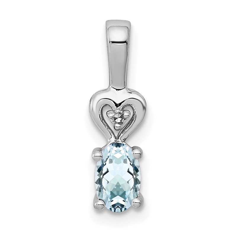 Quality Gold Sterling Silver Rhodium-plated Aquamarine & Diam. Pendant