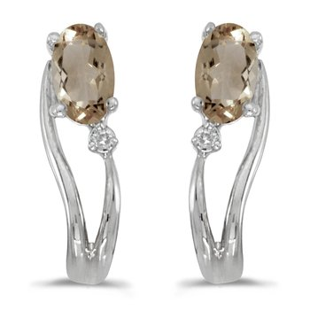 14k White Gold Oval Smokey Topaz And Diamond Wave Earrings