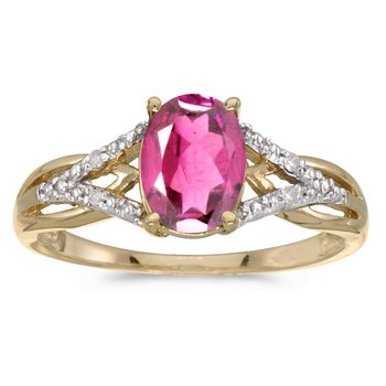 14k Yellow Gold Oval Pink Topaz And Diamond Ring