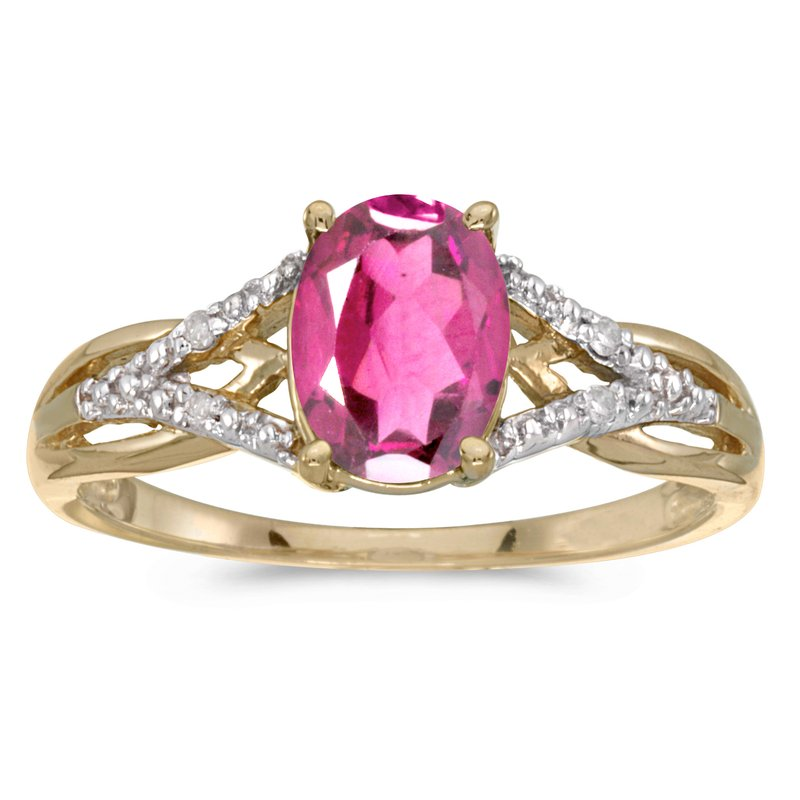 Color Merchants 14k Yellow Gold Oval Pink Topaz And Diamond Ring
