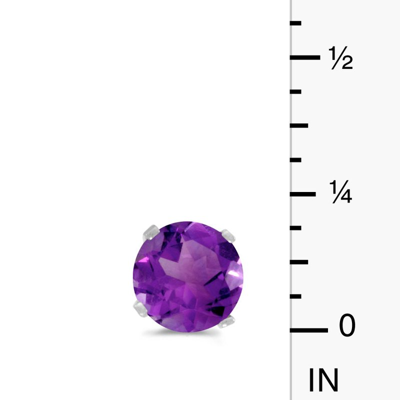 Color Merchants 14k White Gold 5 mm Natural Round Amethyst Stud Earrings