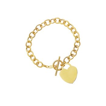 14K Gold Heart Charm & Toggle Large Oval Link Chain Chain