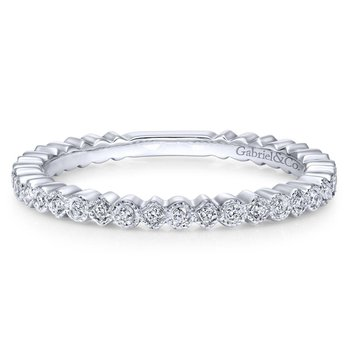 14K White Gold Scalloped Diamond Stackable Ring