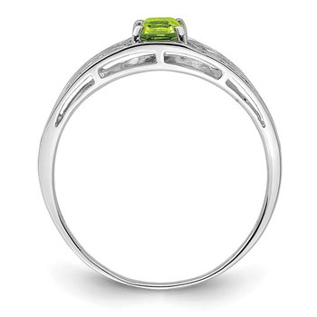 Sterling Silver Rhodium Plated Peridot Ring