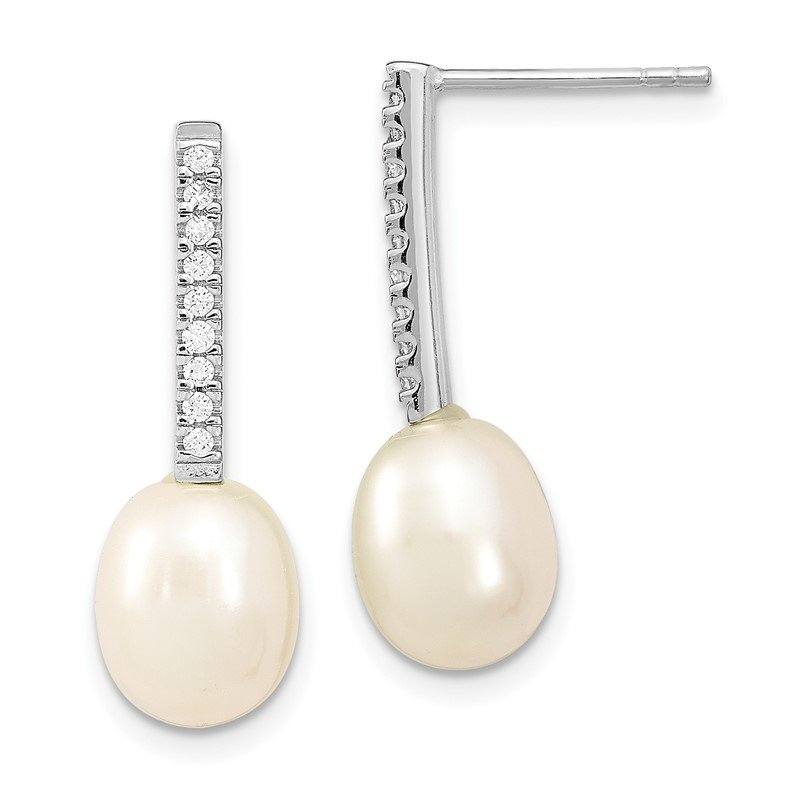 Quality Gold Sterling Silver Rhodium-plated 8-9mm Rice FWC Pearl CZ Post Dangle Earrings