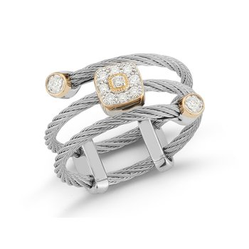 Grey Cable Flex Ring with Square Diamond Stations set in 18kt Yellow Gold