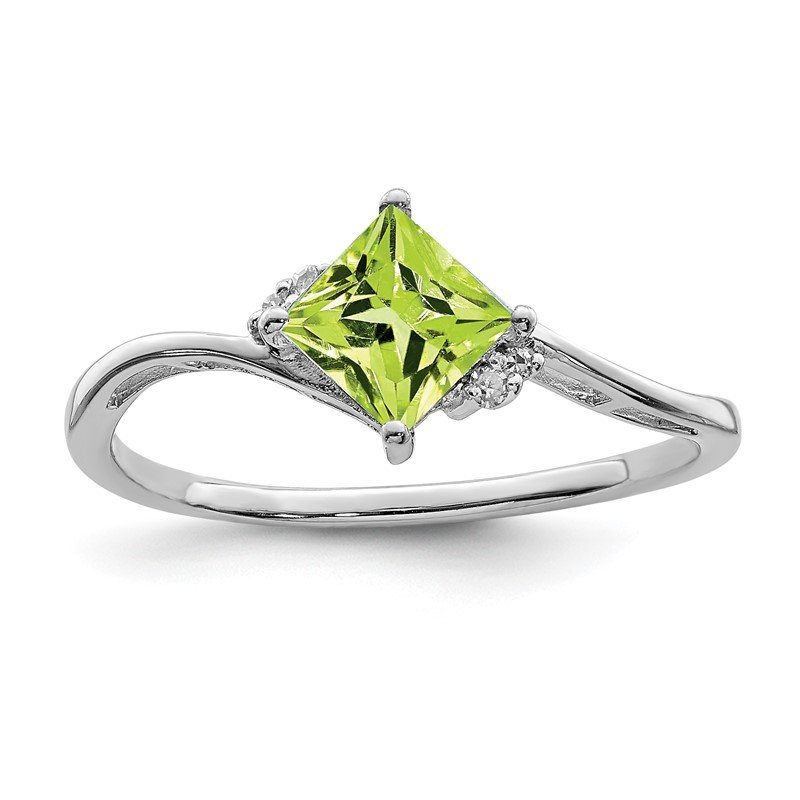 Quality Gold Sterling Silver Rhodium Plated Diamond & Peridot Square Ring