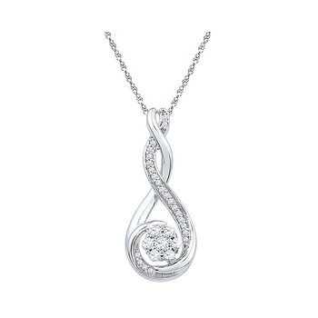 10kt White Gold Womens Round Diamond Twisted Teardrop Cluster Pendant 1/4 Cttw