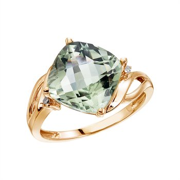 14K Yellow Gold 10 mm Cushion Green Amethyst and Diamond Ring