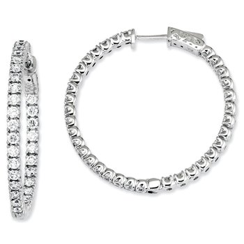 Sterling Silver CZ 68 Stones In and Out Round Hinged Hoop Earrings