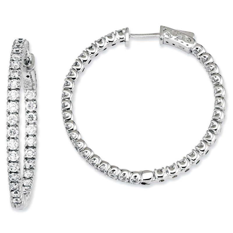 Quality Gold Sterling Silver CZ 68 Stones In and Out Round Hoop Earrings