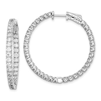 Sterling Silver CZ 68 Stones In and Out Round Hoop Earrings