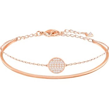 Ginger Bangle, White, Rose-gold tone plated