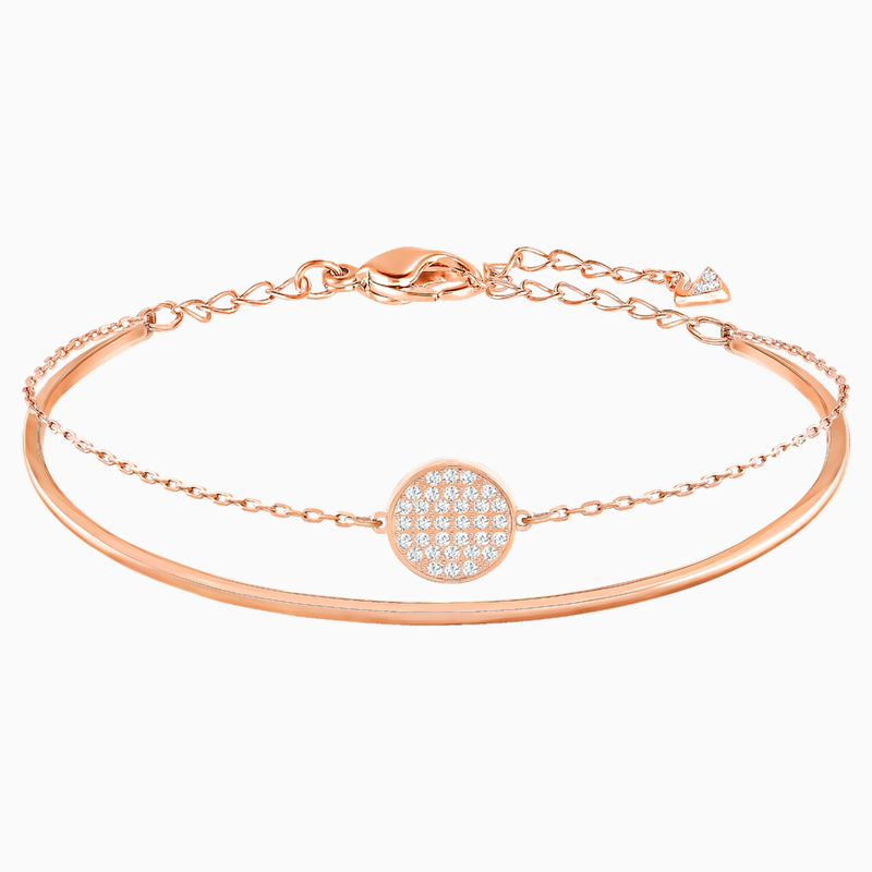 Swarovski Ginger Bangle, White, Rose-gold tone plated