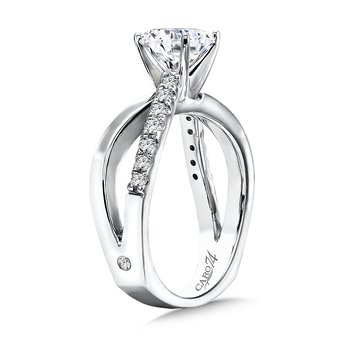Diamond Split Shank Engagement Ring in 14K White Gold with Platinum Head (1-1/4ct. tw.)