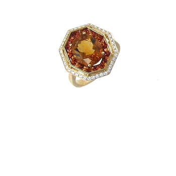 18Kt Gold Ring With Diamonds, Citrine And Orange Sapphire