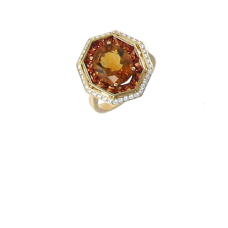 Roberto Coin 18Kt Gold Ring With Diamonds, Citrine And Orange Sapphire