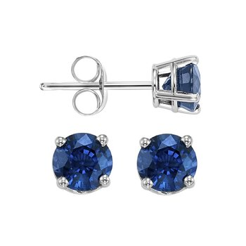Four Prong Sapphire Studs in 14K White Gold (4 MM)