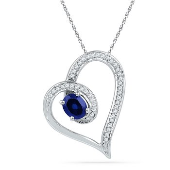 10kt White Gold Womens Oval Lab-Created Blue Sapphire Heart Outline Pendant 3/4 Cttw